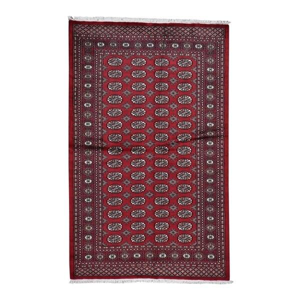 "Shahbanu Rugs Hand-Knotted Mori Bokara Elephant Feet Design Pure Wool Oriental Rug (5'1"" x 8'1"") - 5'1"" x 8'1"""