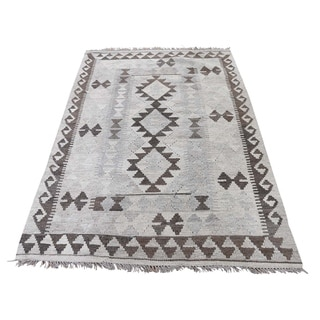 "Shahbanu Rugs Undyed Natural Wool Afghan Kilim Reversible Hand Woven Oriental Rug (3'4"" x 5'2"") - 3'4"" x 5'2"""