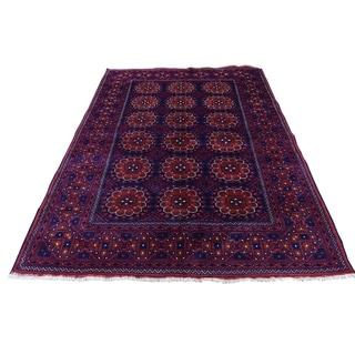 "Shahbanu Rugs Afghan Khamyab Dense Weave Silky Wool Hand Knotted Oriental Rug (4'5"" x 6'0"") - 4'5"" x 6'0"""