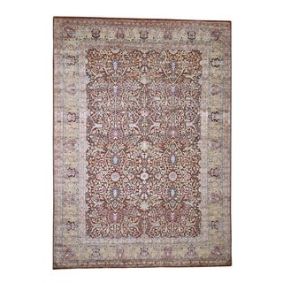 """Shahbanu Rugs Silk With Oxidized Wool Oushak Design Hand-Knotted Oriental Rug (8'10"""" x 12'4"""") - 8'10"""" x 12'4"""""""