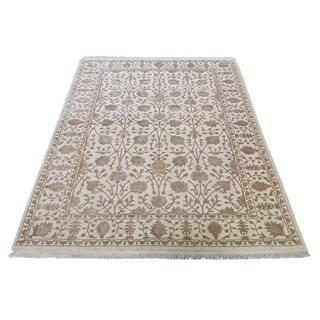 "Shahbanu Rugs Half Wool And Half Silk Tabriz Design Hand-Knotted Oriental Rug (3'10"" x 5'10"") - 3'10"" x 5'10"""
