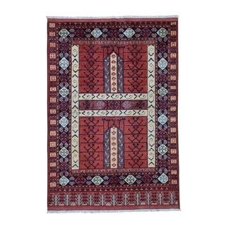 "Shahbanu Rugs Afghan Ersari Pure Wool Hand-Knotted Oriental Rug (5'0"" x 7'2"") - 5'0"" x 7'2"""