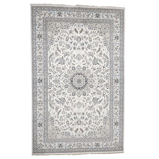 """Shahbanu Rugs Hand-Knotted Wool and Silk 250 Kpsi Ivory Nain Oversize Oriental Rug (10'0"""" x 16'0"""") - 10'0"""" x 16'0"""""""