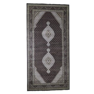 "Shahbanu Rugs Gallery Size Wool and Silk Tabriz Mahi Design Hand-Knotted Rug (9'0"" x 18'2"") - 9'0"" x 18'2"""