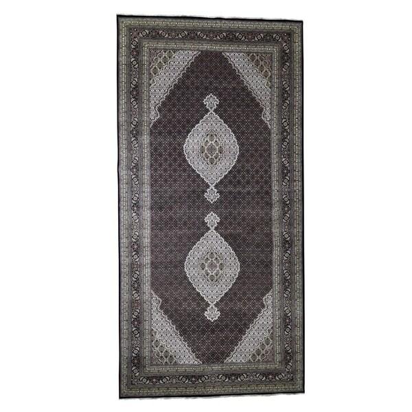 "Shahbanu Rugs Gallery Size Wool and Silk Tabriz Mahi Design Hand-Knotted Rug (9'0"" x 18'2"") - 9'0"" x 18'2"""