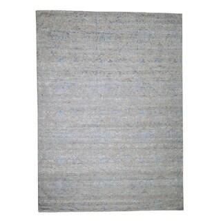 "Shahbanu Rugs Pure Silk With Oxidized Wool Trellis Garden Design Oriental Rug (9'0"" x 12'2"") - 9'0"" x 12'2"""