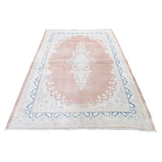 "Shahbanu Rugs White Wash Kerman Sheared Low Hand-Knotted Pure Wool Oriental Rug  (3'10"" x 6'7"") - 3'10"" x 6'7"""