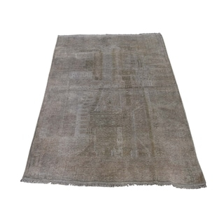 "Shahbanu Rugs Vintage Afghan Baluch Natural Color Hand-Knotted Pure Wool Rug (3'4"" x 5'0"") - 3'4"" x 5'0"""