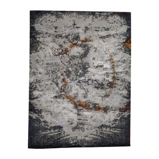 """Shahbanu Rugs Hi-Low Pile Abstract Design Wool And Silk Hand-Knotted Oriental Rug (9'10"""" x 13'9"""") - 9'10"""" x 13'9"""""""