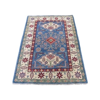"Shahbanu Rugs Special Kazak Pure Wool Hand-Knotted Geometric Design Oriental Rug (2'9"" x 4'2"") - 2'9"" x 4'2"""