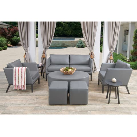 Oxford Garden Salino 8-piece Nickel Nauticau Synthetic Leather Chat Set