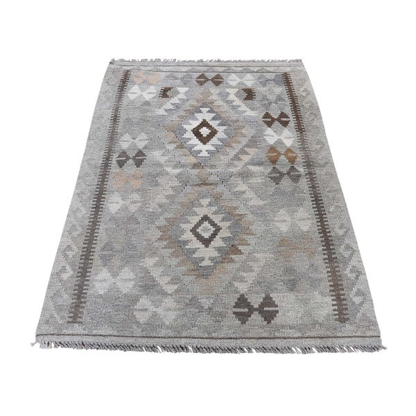 "Shahbanu Rugs Undyed Natural Wool Afghan Kilim Reversible Hand Woven Oriental Rug (2'7"" x 3'10"") - 2'7"" x 3'10"""