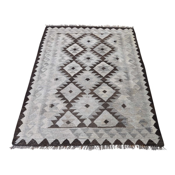 "Shahbanu Rugs Undyed Natural Wool Afghan Kilim Reversible Hand Woven Oriental Rug (3'5"" x 5'0"") - 3'5"" x 5'0"""