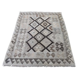 "Shahbanu Rugs Undyed Natural Wool Afghan Kilim Reversible Hand Woven Oriental Rug (3'6"" x 5'0"") - 3'6"" x 5'0"""