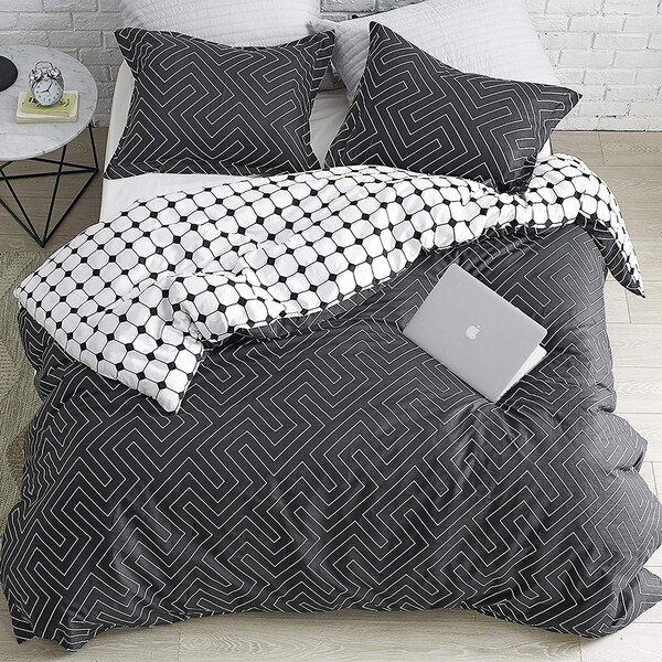 Route - Faded Black and White - Oversized Duvet Cover - 100% Cotton Bedding