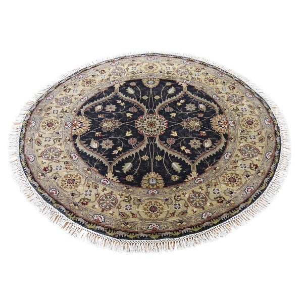 "Shahbanu Rugs Hereke Design Wool And Silk Hand-Knotted 300 Kpsi Round Oriental Rug (4'1"" x 4'2"") - 4'1"" x 4'2"""