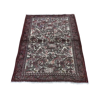 """Shahbanu Rugs Vintage Persian Hamadan With Birds Pure Wool Hand-Knotted Rug (2'9"""" x 4'4"""") - 2'9"""" x 4'4"""""""