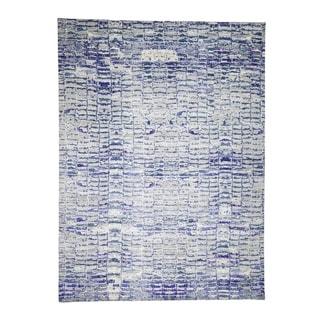 "Shahbanu Rugs Diminishing Bricks Sari Silk Hand-Knotted Oriental Rug (10'2"" x 13'10"") - 10'2"" x 13'10"""