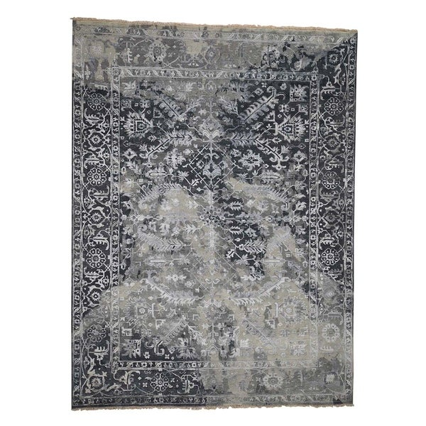 """Shahbanu Rugs Broken Persian Heriz All Over Design Wool And Silk Hand-Knotted Rug (9'0"""" x 12'0"""") - 9'0"""" x 12'0"""""""