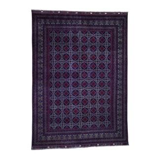 "Shahbanu Rugs Afghan Khamyab Elephant Feet Design Pure Wool Hand Knotted Rug (8'1"" x 11'0"") - 8'1"" x 11'0"""