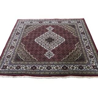 "Shahbanu Rugs Hand-Knotted Wool And Silk Tabriz Mahi Square Oriental Rug (5'0"" x 5'1"") - 5'0"" x 5'1"""
