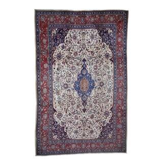 "Shahbanu Rugs Semi Antique Persian Sarouk Pure Wool Full Pile Exc Condition Rug (7'4"" x 11'4"") - 7'4"" x 11'4"""
