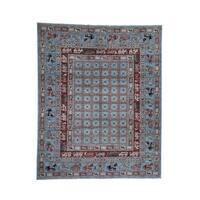 "Shahbanu Rugs Hand-Knotted Antiqued Pazyryk Historical Design Peshawar Oriental Rug (8'0"" x 9'10"") - 8'0"" x 9'10"""
