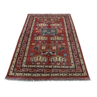 "Shahbanu Rugs Afghan Ersari Pure Wool Hand-Knotted Oriental Rug (3'8"" x 6'1"") - 3'8"" x 6'1"""