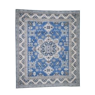 "Shahbanu Rugs Vintage Look Kazak Denim Blue Pure Wool Hand-Knotted Oriental Rug (8'0"" x 9'8"") - 8'0"" x 9'8"""