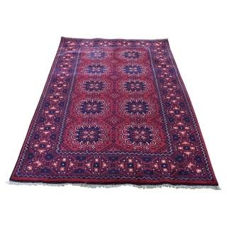 "Shahbanu Rugs Afghan Khamyab Dense Weave Silky Wool Hand Knotted Oriental Rug (3'3"" x 5'6"") - 3'3"" x 5'6"""