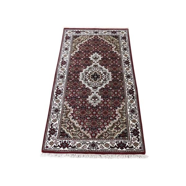 "Shahbanu Rugs Wool And Silk Hand-Knotted Tabriz Mahi Oriental Rug (2'1"" x 4'1"") - 2'1"" x 4'1"""