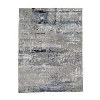 "Shahbanu Rugs Hi-Low Pile Abstract Design Wool And Silk Hand-Knotted Oriental Rug (4'10"" x 6'8"") - 4'10"" x 6'8"""