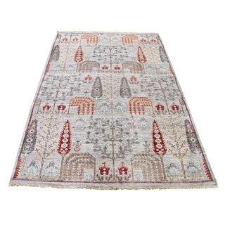 "Shahbanu Rugs Peshawar Willow & Cypress Tree Design Hand-Knotted Oriental Rug (4'0"" x 6'3"") - 4'0"" x 6'3"""