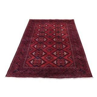 "Shahbanu Rugs Afghan Khamyab Repetitive Design Hand Knotted Oriental Rug (4'0"" x 5'9"") - 4'0"" x 5'9"""
