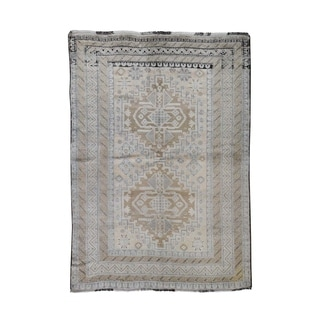 "Shahbanu Rugs Washed Out Pure Wool Afghan Baluch Hand-Knotted Oriental Rug (5'3"" x 7'5"") - 5'3"" x 7'5"""