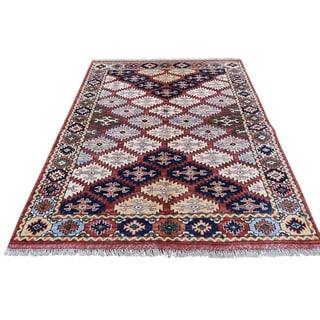 "Shahbanu Rugs Afghan Ersari Repetitive Design Hand Knotted Oriental Rug (4'0"" x 5'7"") - 4'0"" x 5'7"""