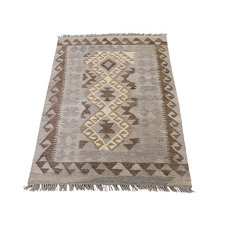 "Shahbanu Rugs Undyed Natural Wool Afghan Kilim Reversible Hand Woven Oriental Rug (2'8"" x 4'0"") - 2'8"" x 4'0"""
