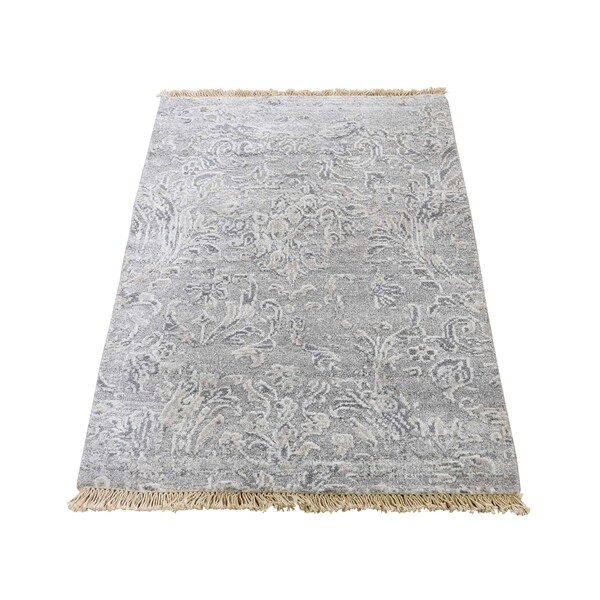 "Shahbanu Rugs Broken Design Wool And Silk Tone on Tone Hand-Knotted Oriental Rug Mat (2'0"" x 3'0"") - 2'0"" x 3'0"""