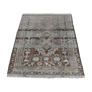 "Shahbanu Rugs Vintage Afghan Baluch Natural Color Hand-Knotted Pure Wool Rug (2'9"" x 3'9"") - 2'9"" x 3'9"""