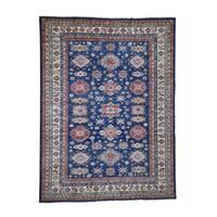 "Shahbanu Rugs Super Kazak Pure Wool Geometric Design Hand-Knotted Oriental Rug (9'0"" x 12'0"") - 9'0"" x 12'0"""