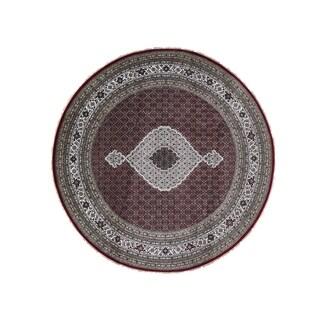 "Shahbanu Rugs Hand-Knotted Wool And Silk Round Tabriz Mahi 250 KPSI Oriental Rug (8'0"" x 8'1"") - 8'0"" x 8'1"""