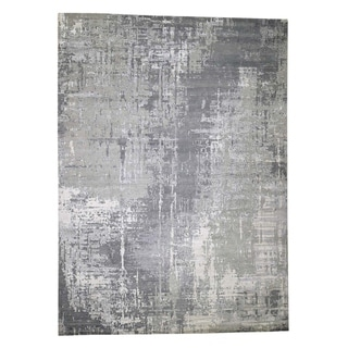 """Shahbanu Rugs Abstract Wool And Silk With Mosaic Design Hand-Knotted Modern Rug (10'0"""" x 13'9"""") - 10'0"""" x 13'9"""""""