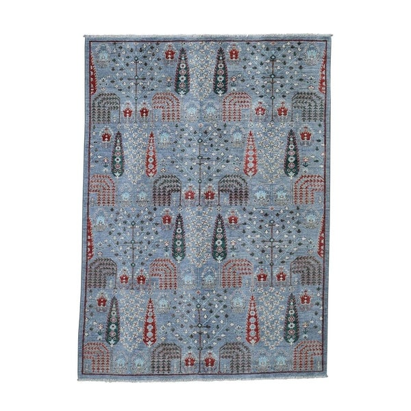 "Shahbanu Rugs Peshawar Willow And Cypress Tree Design Hand-Knotted Oriental Rug (5'1"" x 7'0"") - 5'1"" x 7'0"""