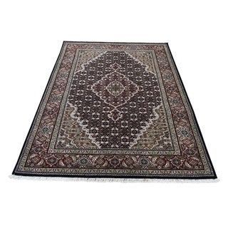 "Shahbanu Rugs Hand-Knotted Wool And Silk Tabriz Mahi Oriental Rug (4'1"" x 6'0"") - 4'1"" x 6'0"""