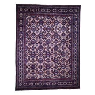 "Shahbanu Rugs Afghan Khamyab repetitive Design Silky Wool Hand Knotted Oriental Rug (10'0"" x 12'9"") - 10'0"" x 12'9"""
