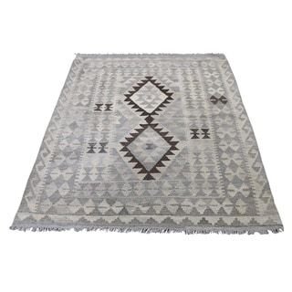 "Shahbanu Rugs Undyed Natural Wool Afghan Kilim Reversible Hand Woven Oriental Rug (3'5"" x 4'10"") - 3'5"" x 4'10"""