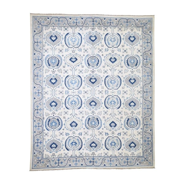 """Shahbanu Rugs Vintage Look Arts & Craft Design Pure Wool Hand-Knotted Oriental Rug (8'0"""" x 9'9"""") - 8'0"""" x 9'9"""""""
