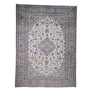 "Shahbanu Rugs Semi Antique Persian Kashan Pure Wool Hand-Knotted Oriental Rug  (9'10"" x 13'0"") - 9'10"" x 13'0"""