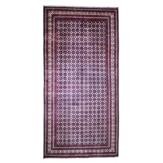 """Shahbanu Rugs Gallery Size Afghan Khamyab vegetables Dyes Hand Knotted Oriental Rug (9'9"""" x 19'8"""") - 9'9"""" x 19'8"""""""