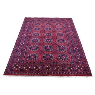 "Shahbanu Rugs Afghan Khamyab Vegetable Dyes Pure Wool Hand-Knotted Oriental Rug (4'0"" x 6'0"") - 4'0"" x 6'0"""